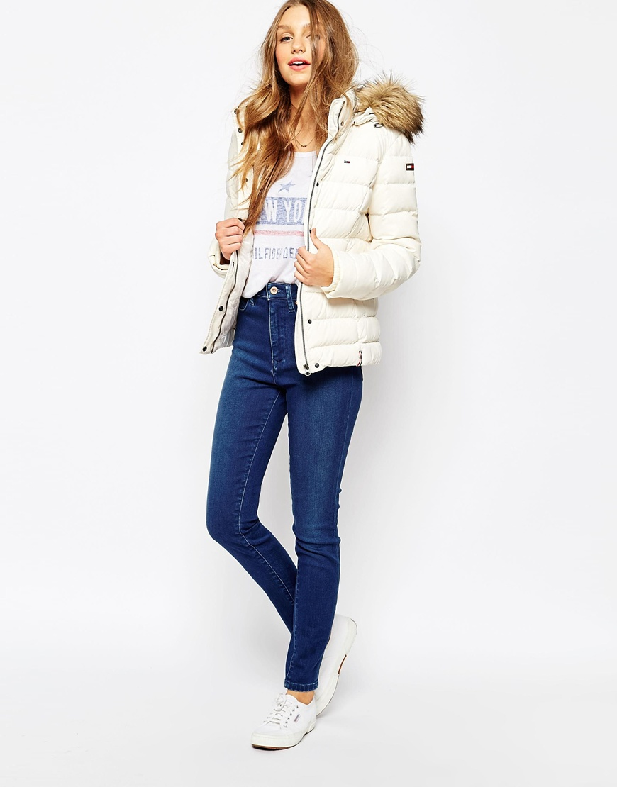 Denim Padded Trimmed Hood Faux Jacket With Fur cTl1KJ3F