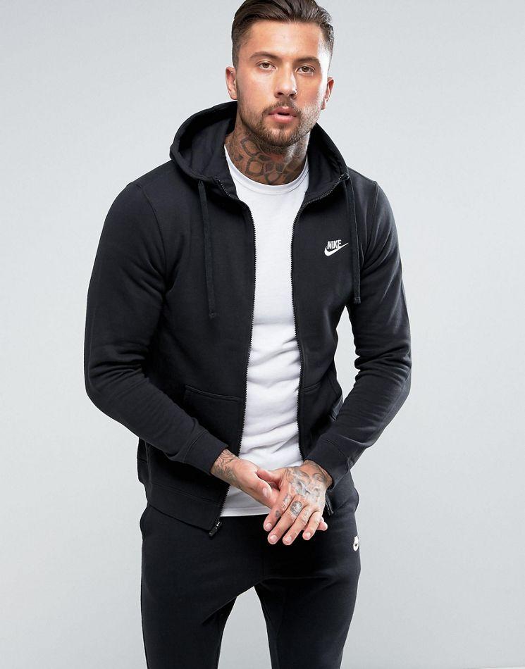 Nike Club zip up hoodie in black 804389 010